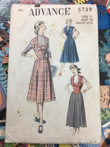 Advance 5739 Jumper Vest Weskit Skirt 1940s Vintage Pattern