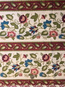 Vintage Bohemian Hippy 1970s Fabric 1.5 yards Linen Pink Red, Teal, Gold