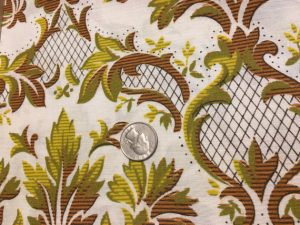 Vintage Bohemian Hippy 1970s Fabric 1.75 yards Satin Brown Yellow Olive Green