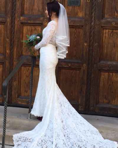 Wedding Dress Bride In Front of Church